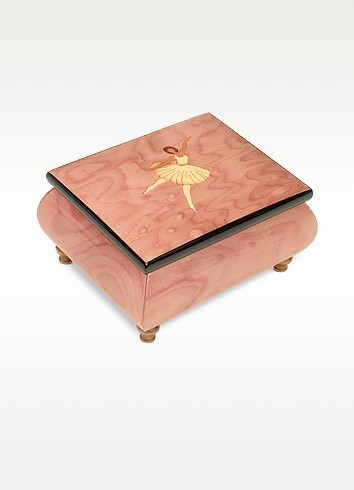 O' Sole Mio - Ballerina Inlaid Wood Musical Jewelry Box - Forzieri