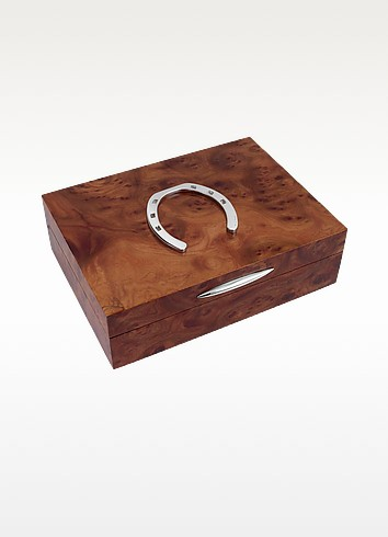 Horse Shoe Sterling Silver & Wood Jewelry Box - Forzieri