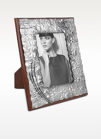 Handmade Decorated Sterling Silver and Wood Picture Frame - Forzieri