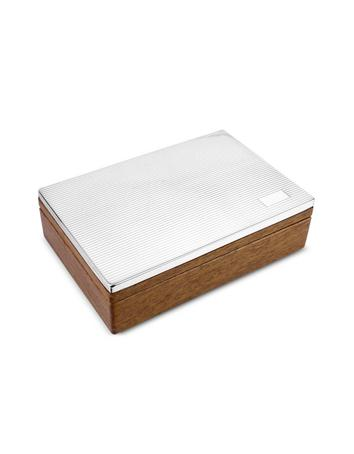Forzieri Ridged Sterling Silver and Wood Jewelry Box