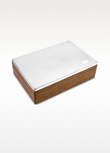 Ridged Sterling Silver and Wood Jewelry Box - Forzieri