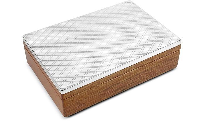 Diamond Pattern Sterling Silver and Wood Jewelry Box - Forzieri