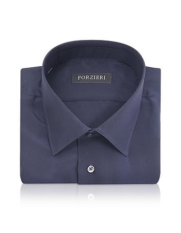 Forzieri - Blue Pure Silk Dress Shirt