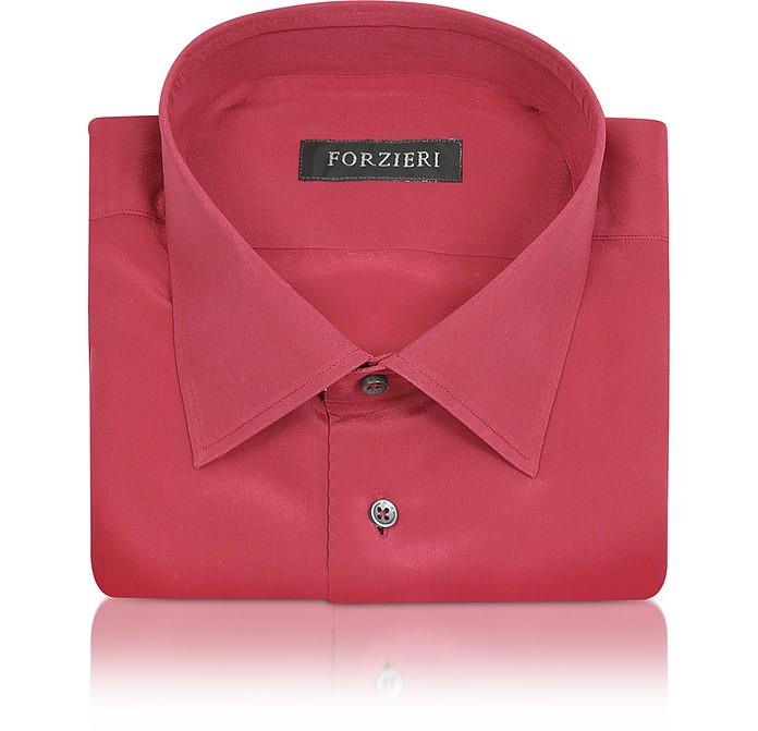 Dramatic Red Pure Silk Dress Shirt - Forzieri