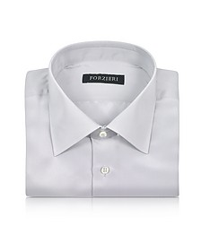 Silver Gray Pure Silk Dress Shirt - Forzieri
