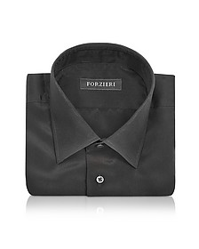Dramatic Black Pure Silk Dress Shirt - Forzieri