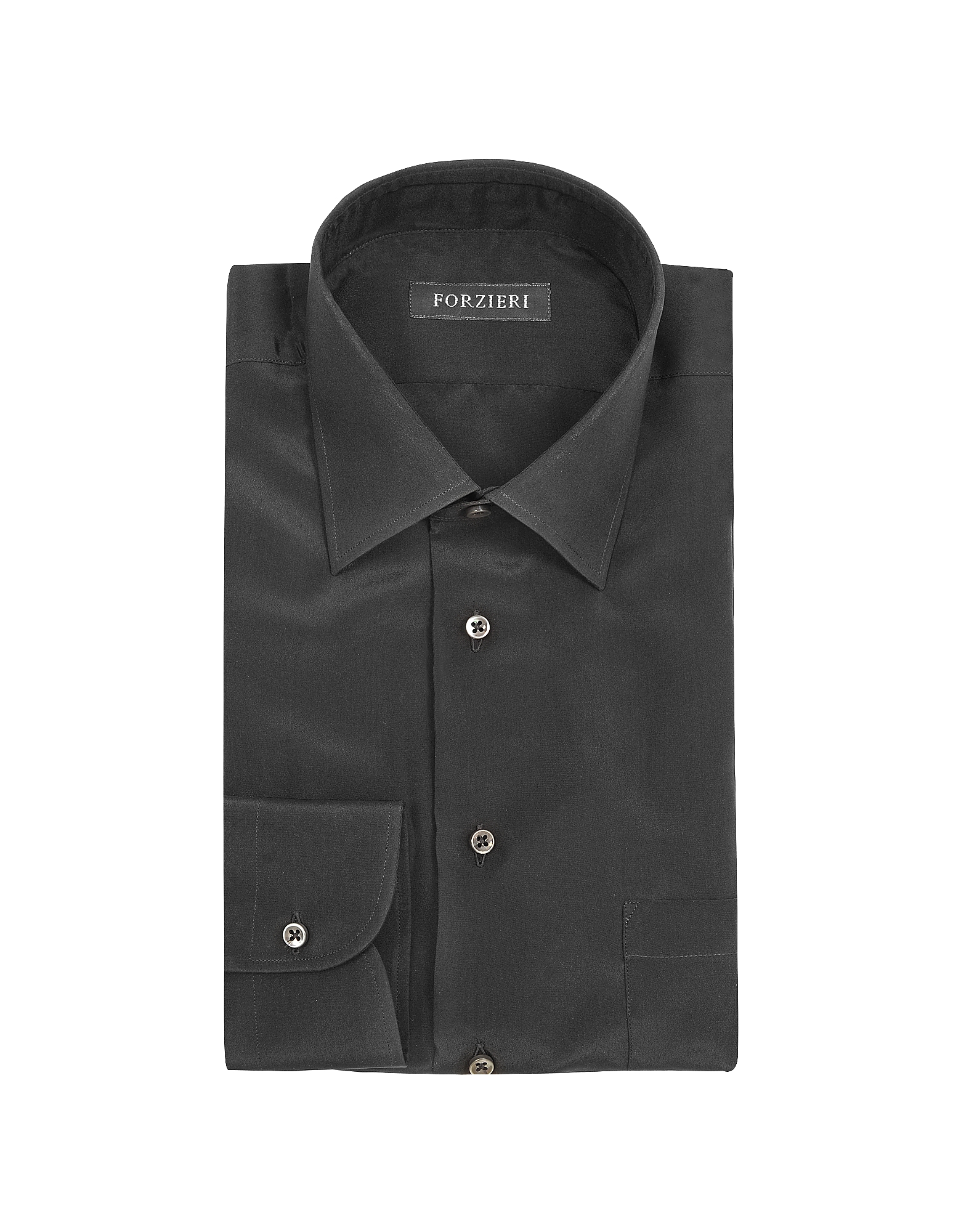 Dramatic Black Pure Silk Dress Shirt от Forzieri.com INT