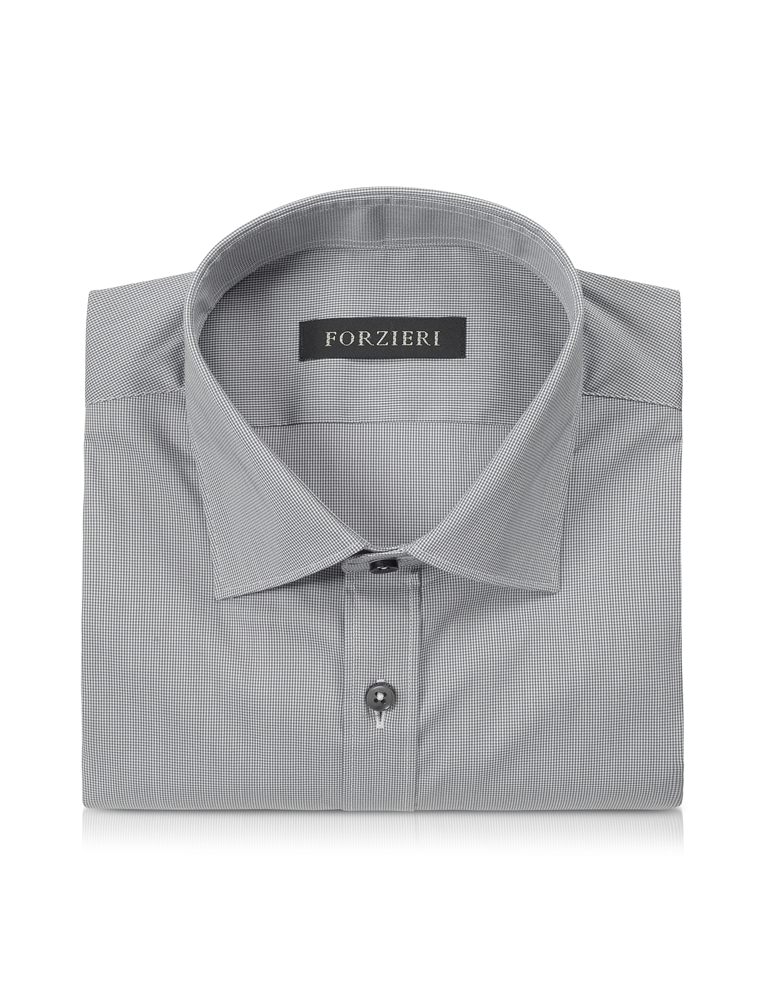 Dark Gray Micro Checked Stretch Cotton Slim Fit Shirt от Forzieri.com INT