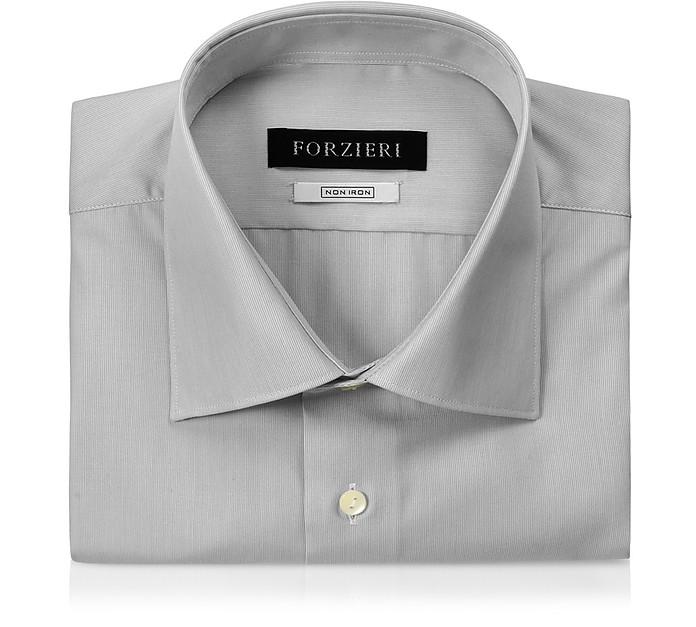 Light Gray Striped Non Iron Cotton Slim Fit Shirt - Forzieri