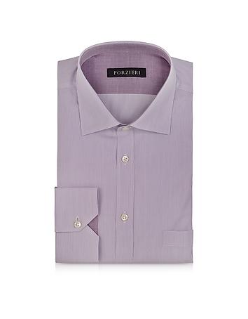 Forzieri Chemise à Rayures Fines en Coton Violet