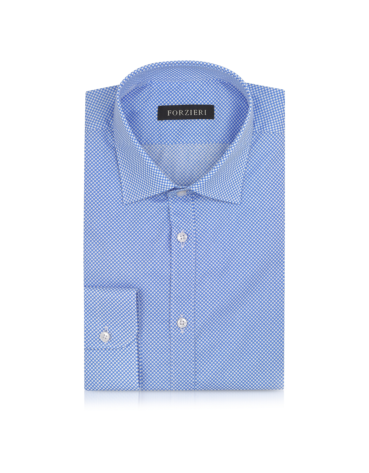 Light Blue and White Polkadot Cotton Slim Fit Shirt