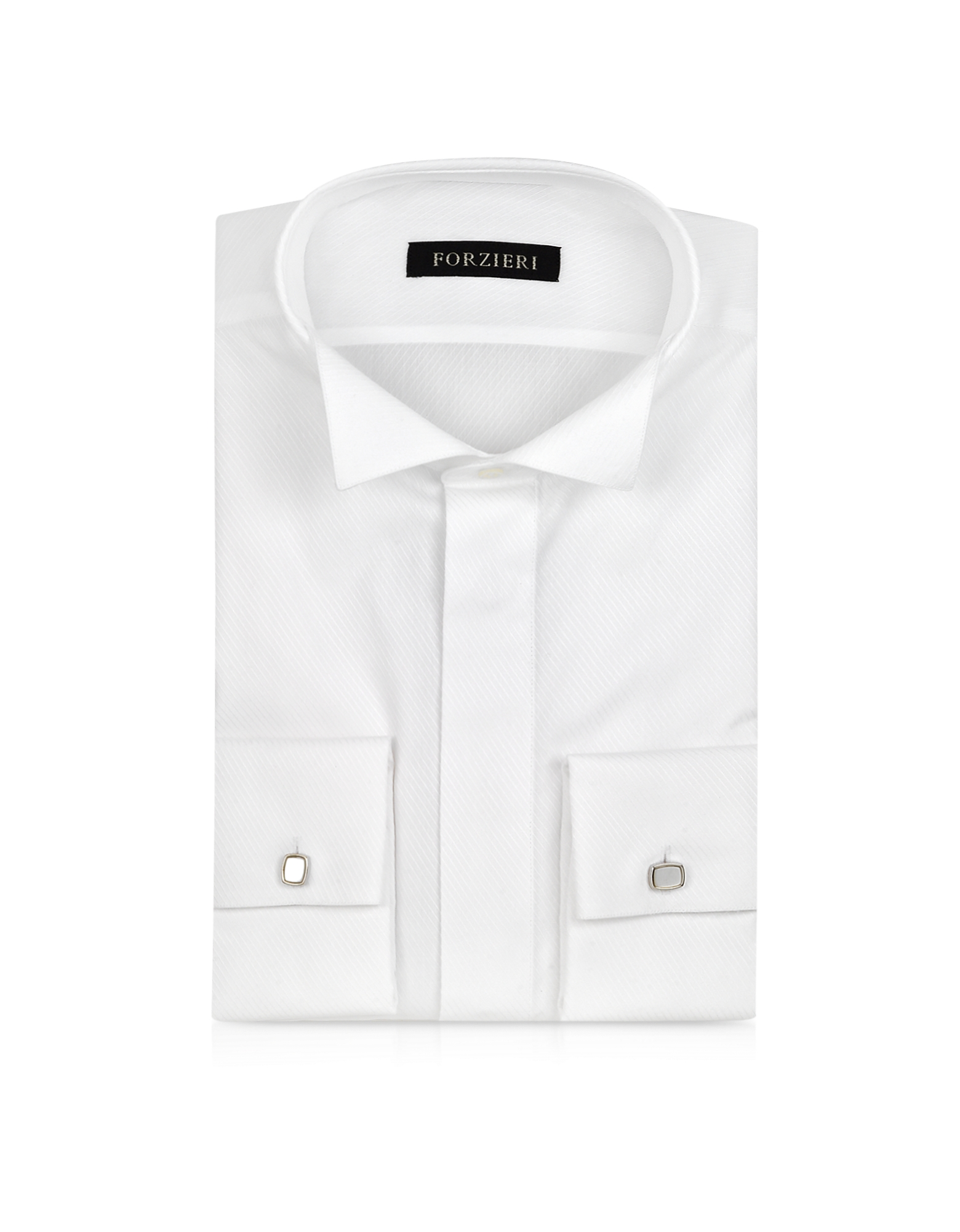 White Textured Cotton French Cuff Tuxedo Shirt от Forzieri.com INT