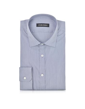 Forzieri - Blue Striped Cotton Blend Slim Fit Shirt