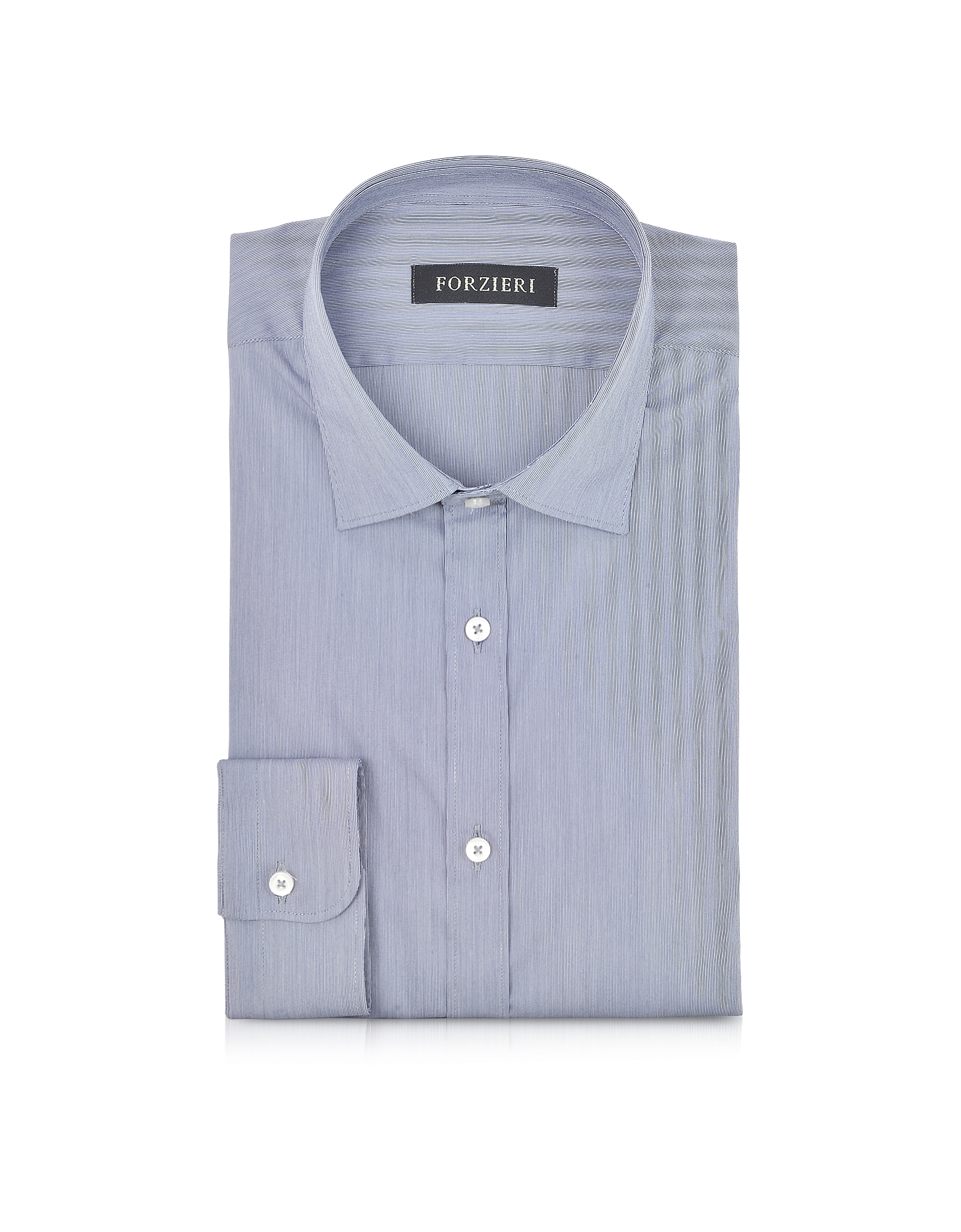 Blue Striped Cotton Blend Slim Fit Shirt от Forzieri.com INT