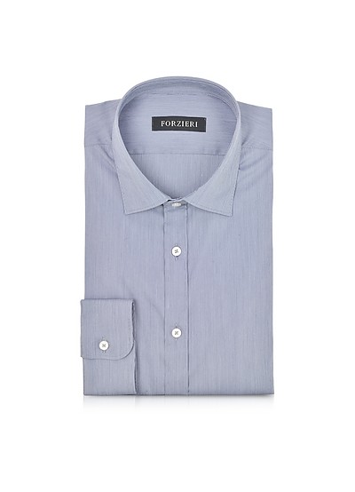 Blue Striped Cotton Blend Slim Fit Shirt  - Forzieri