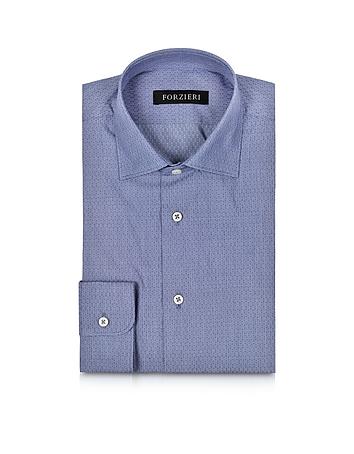 Forzieri Chemise Cintrée en Coton Bleu à Pois