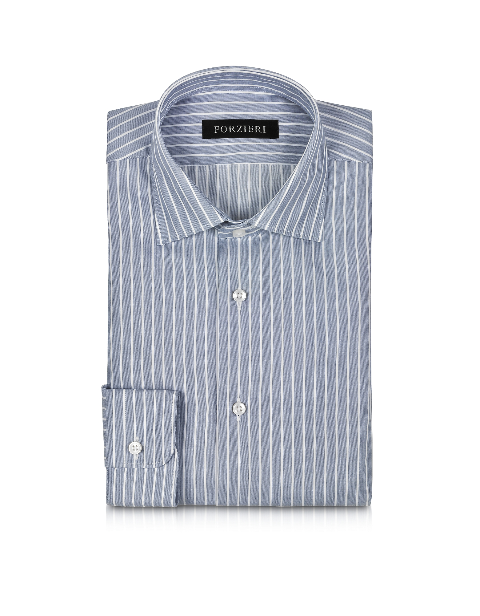 White and Blue Striped Non Iron Cotton Slim Fit Men's Shirt от Forzieri.com INT