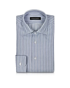 White and Blue Striped Non Iron Cotton Slim Fit Men's Shirt - Forzieri