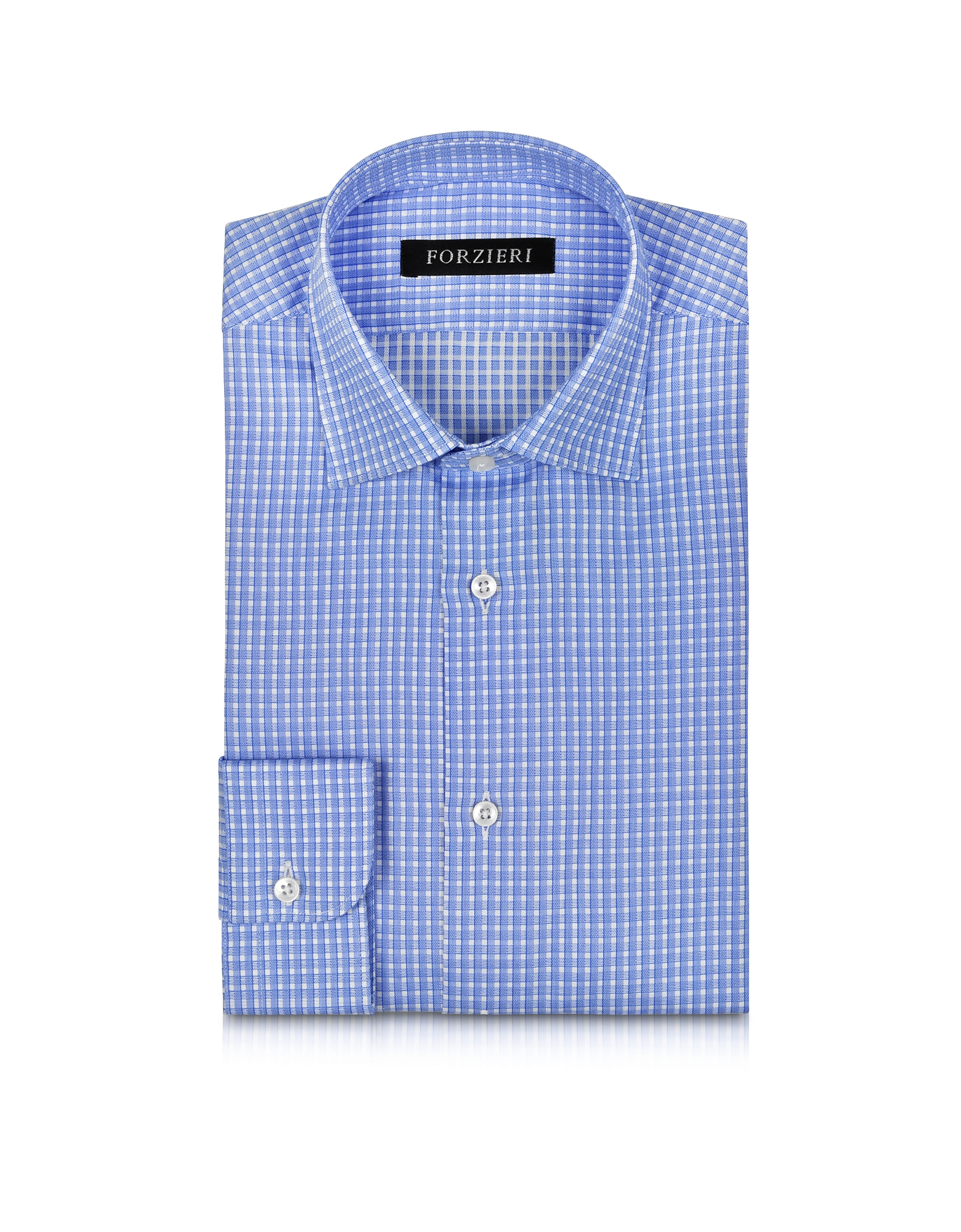 Light Blue Checked Non Iron Cotton Slim FIt Men's Shirt от Forzieri.com INT