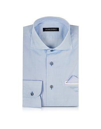 Forzieri Chemise Cintrée en Coton Bleu Ciel avec Mouchoir de Poche