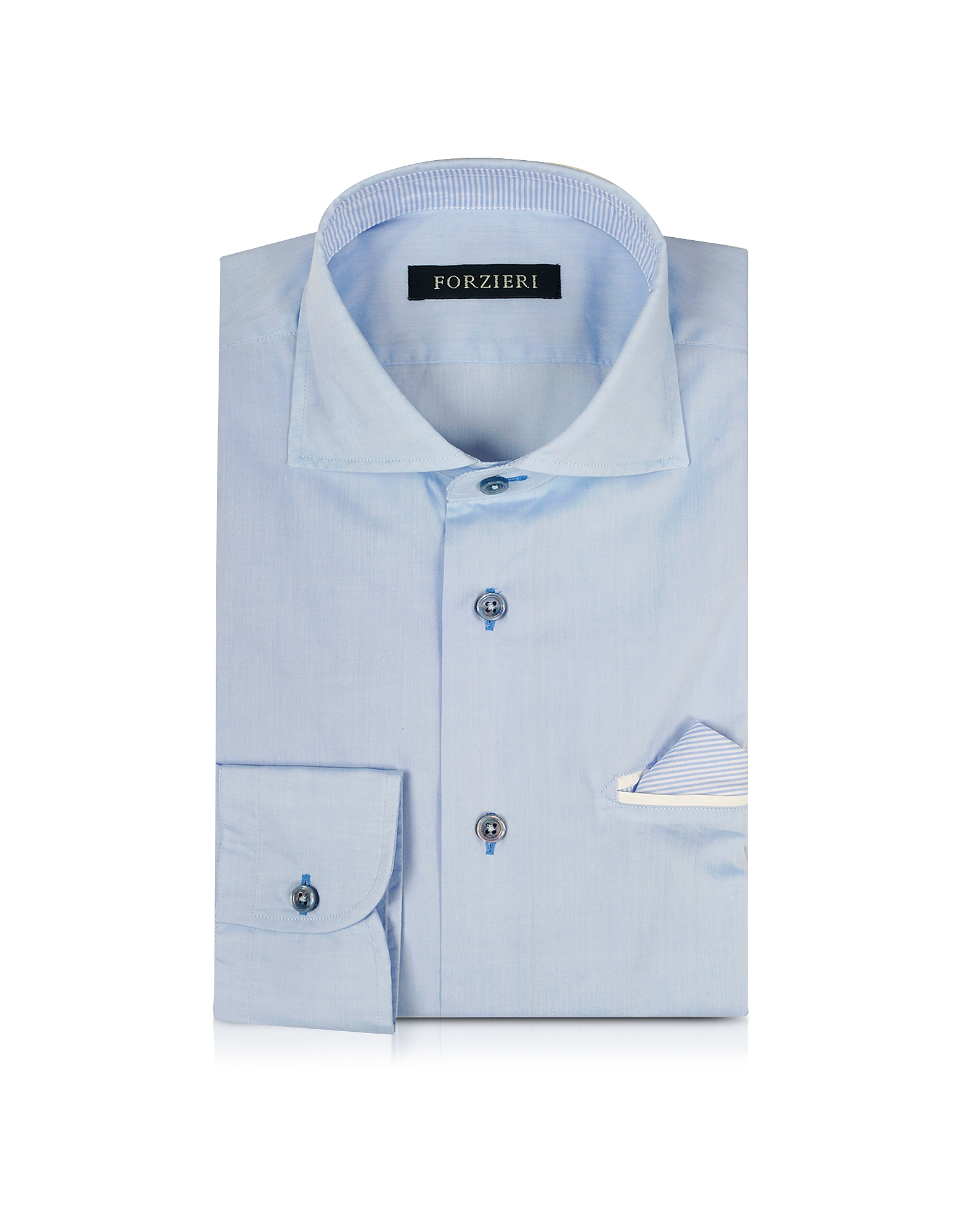 Light Blue Pocket Square Cotton Slim Fit Shirt от Forzieri.com INT