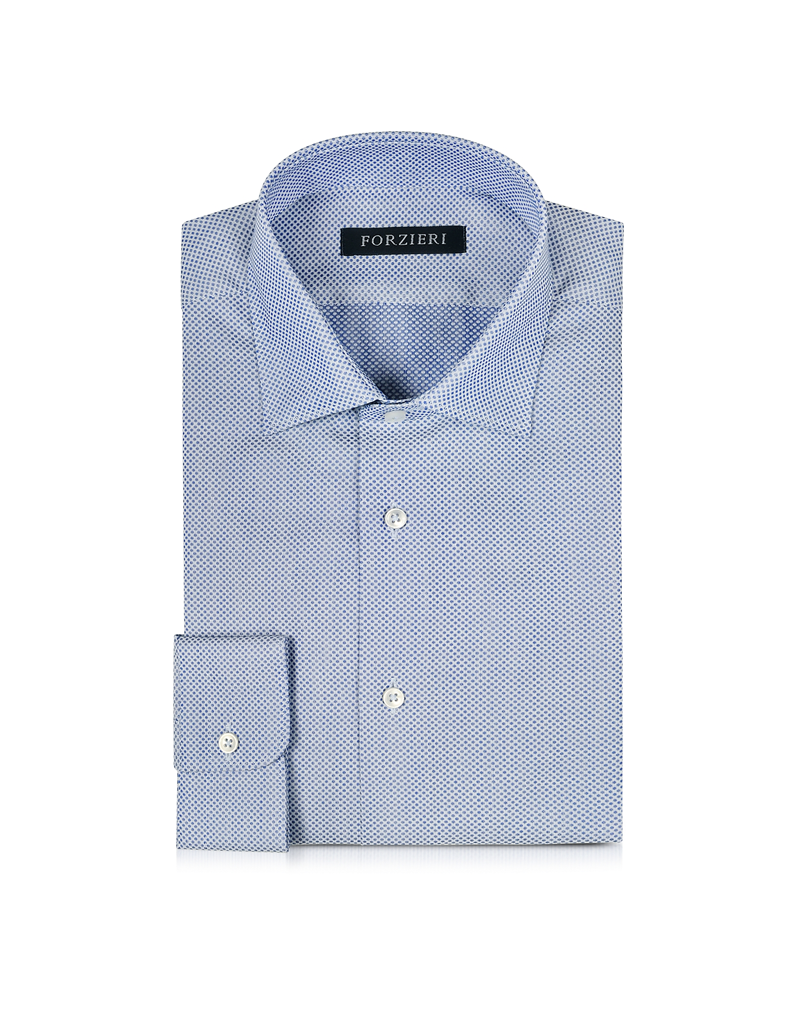 White and Blue Woven Cotton Dress Shirt от Forzieri.com INT