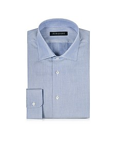 White and Blue Woven Cotton Dress Shirt - Forzieri