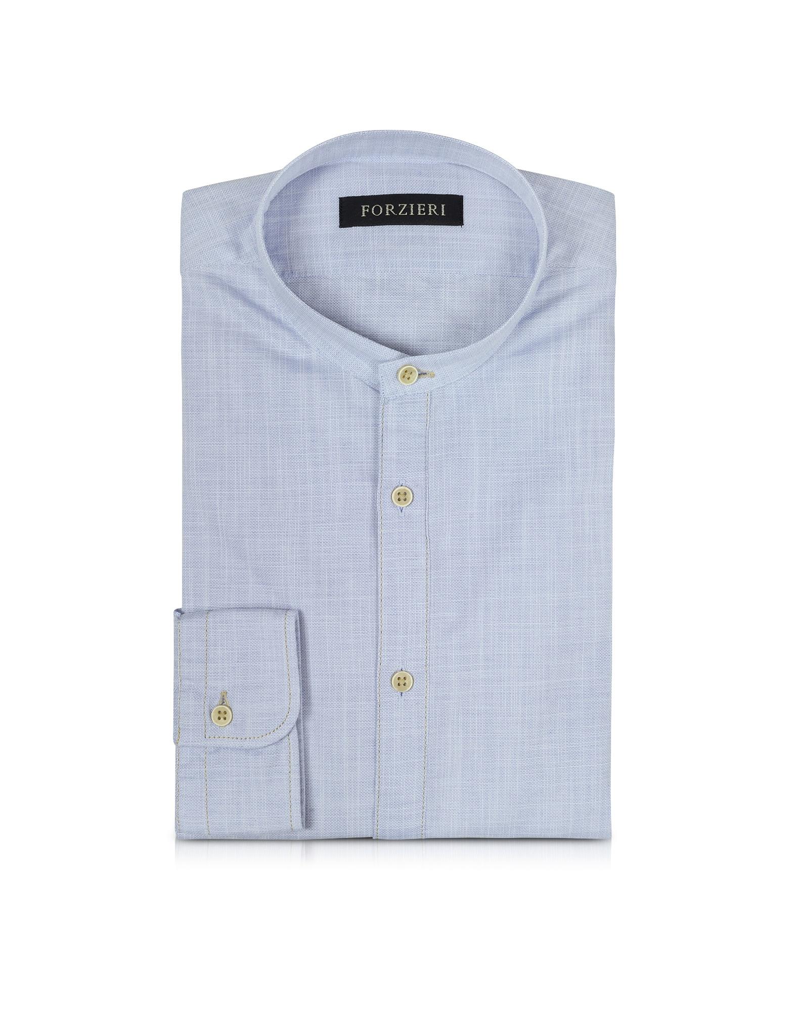 Light Blue Mandarin Collar Cotton Shirt от Forzieri.com INT