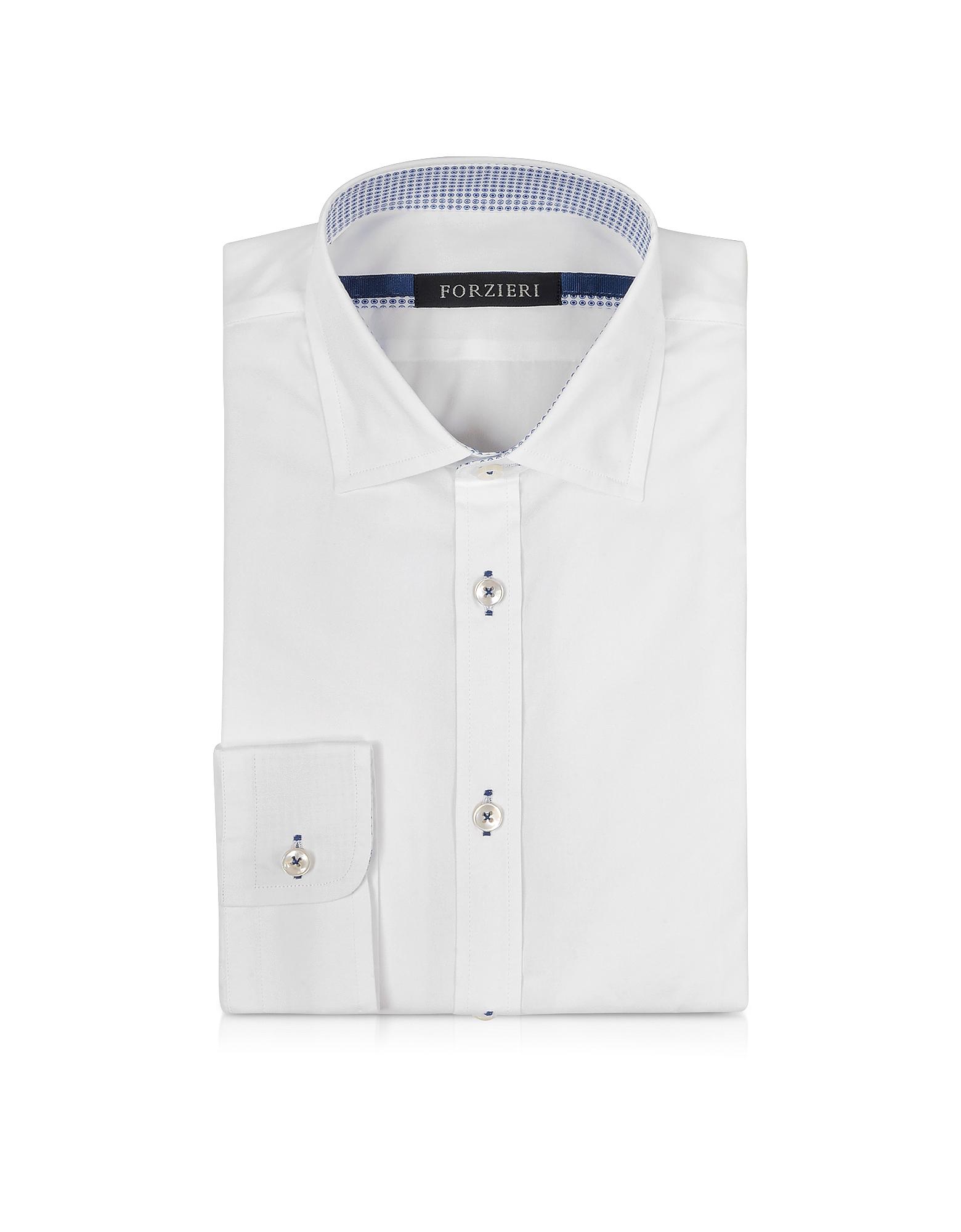 Белая Облегающая Сорочка с Контрастной Отстрочкой