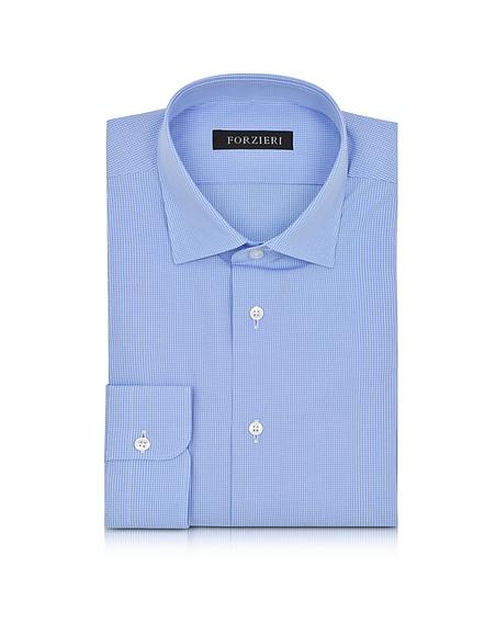 Foto Forzieri Camicia da Uomo in Cotone Azzurro/Manica Lunga Camicie