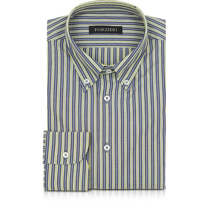 Blue and Yellow Striped Cotton Slim Fit Men's Shirt - Forzieri