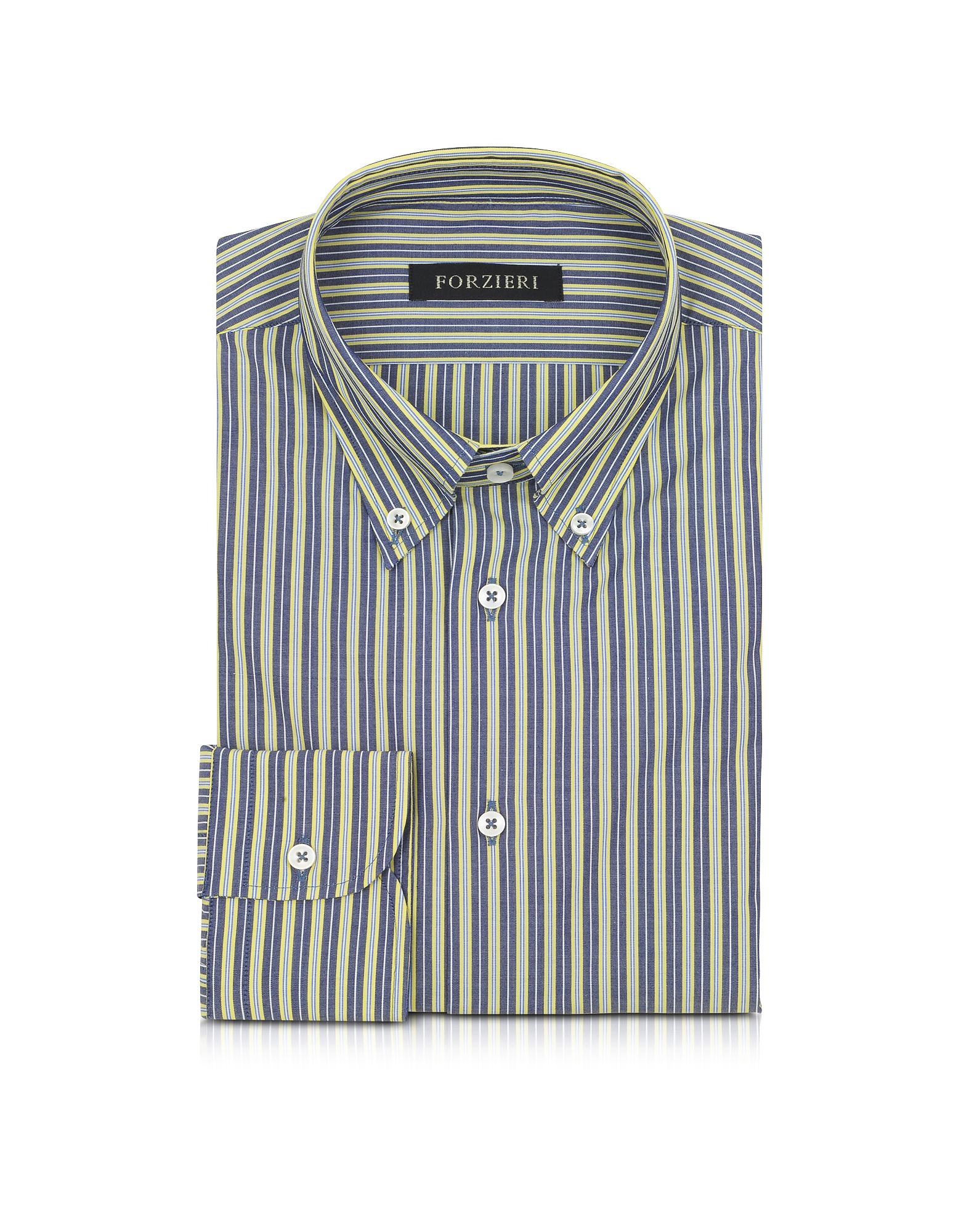 Blue and Yellow Striped Cotton Slim Fit Men's Shirt