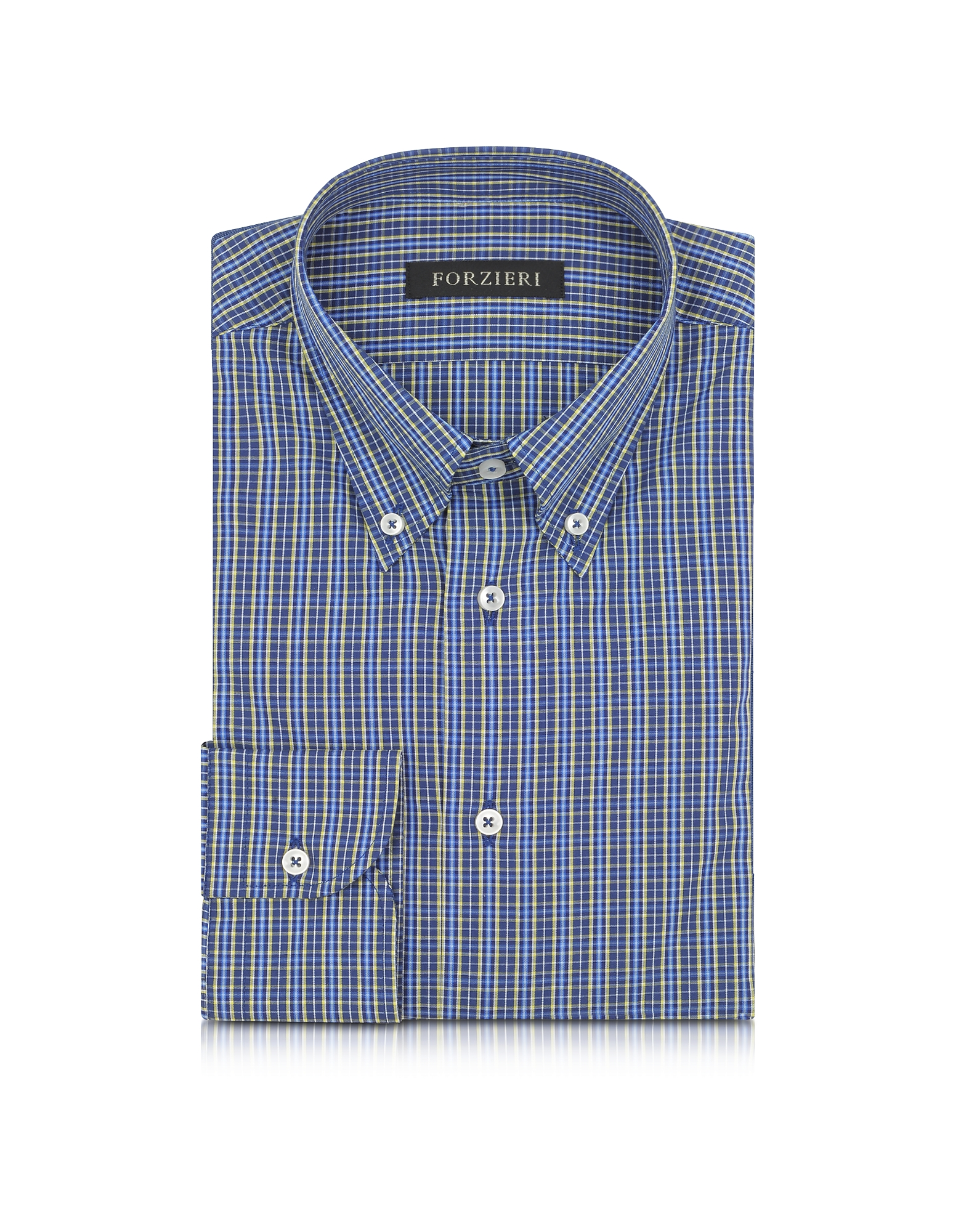 Camicia Button Down Slim Fit in Cotone a Quadretti Blu/Giallo