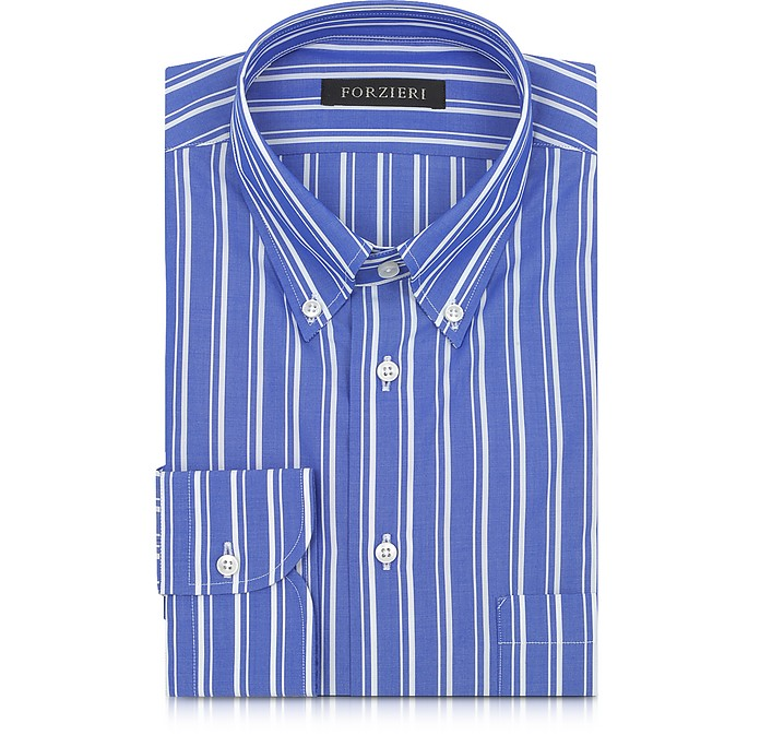 Blue and White Striped Button Down Men's Shirt - Forzieri