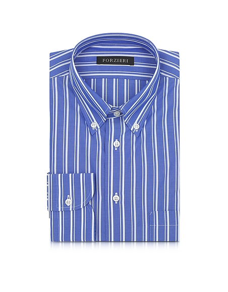 Forzieri Camicia da Uomo Button Down in Cotone a Righe Blu e Bianche