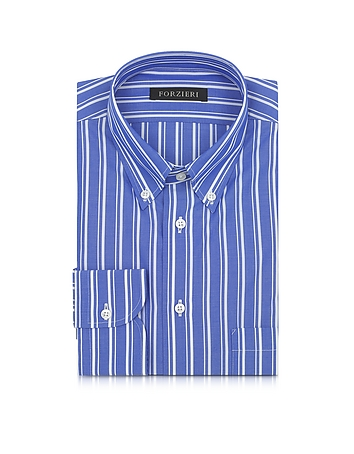 Forzieri - Blue and White Striped Button Down Men's Shirt