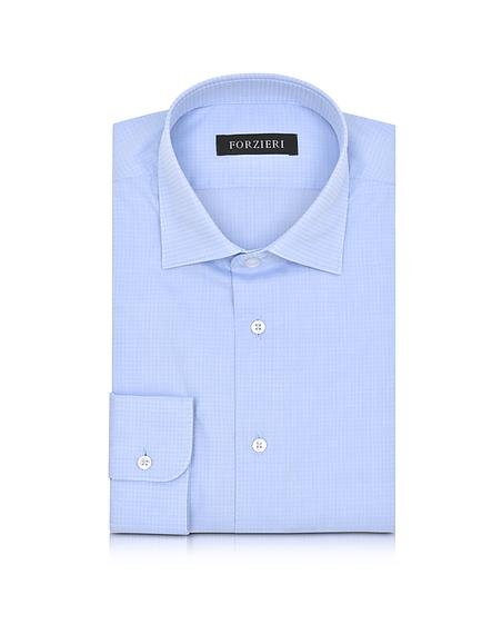 Foto Forzieri Camicia Slim Fit in Cotone a Quadretti Azzurro/Manica Lunga Camicie