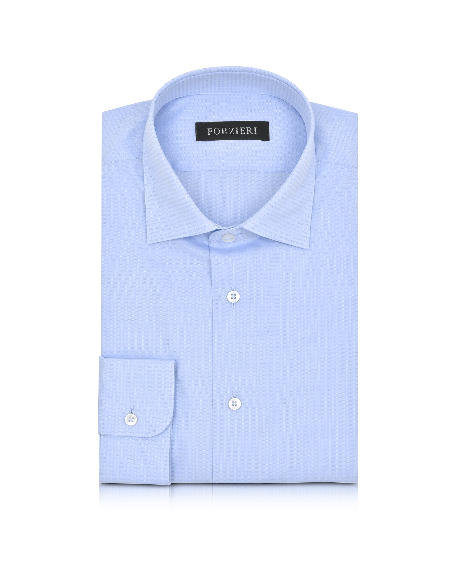 Light Blue Woven Checked Cotton Slim Fit Men's Shirt от Forzieri.com INT