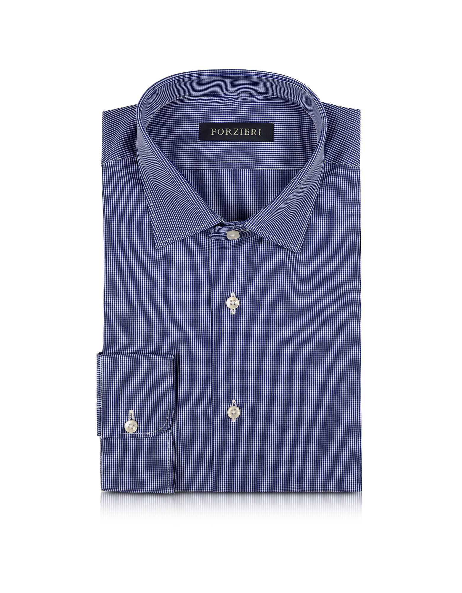 Dark Blue Micro Checked Men's Shirt от Forzieri.com INT
