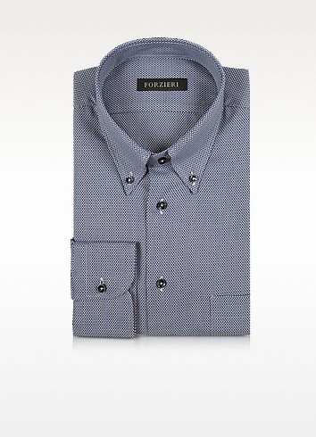 Blue and White Button-down Woven Cotton Shirt - Forzieri
