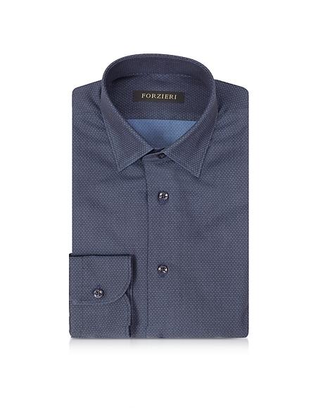 Forzieri Camicia Slim Fit in Cotone Blu Notte e Pois