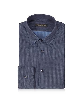 Forzieri Chemise Cintrée en Coton Bleu Marine à Mini Pois