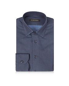 Navy Blue Mini Dots Cotton Slim Fit Men's Shirt - Forzieri