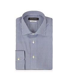 Blue & White Micro Checked Non Iron Cotton Men's Shirt - Forzieri