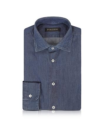 Forzieri Chemise Cintrée en Coton Bleu Jean
