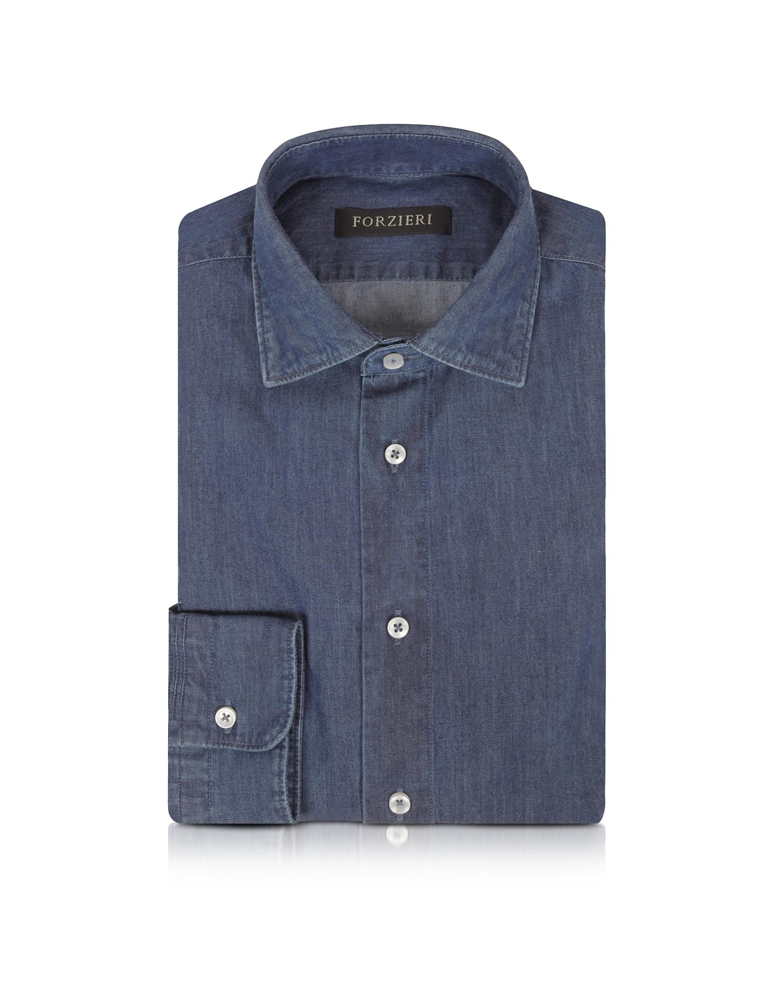 Solid Blue Jeans Cotton Slim Fit Men's Shirt