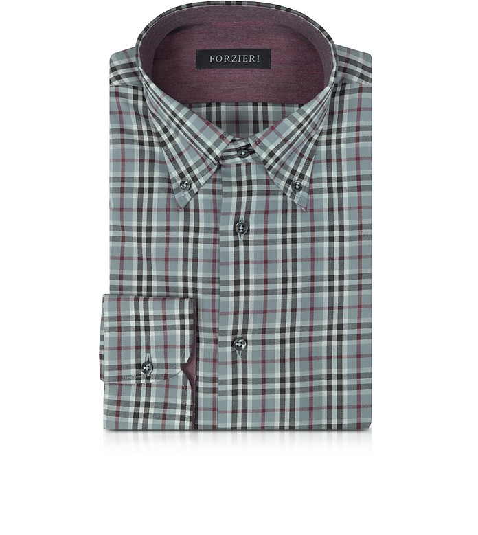Gray & Burgundy Plaid Cotton Slim Fit Men's Shirt - Forzieri