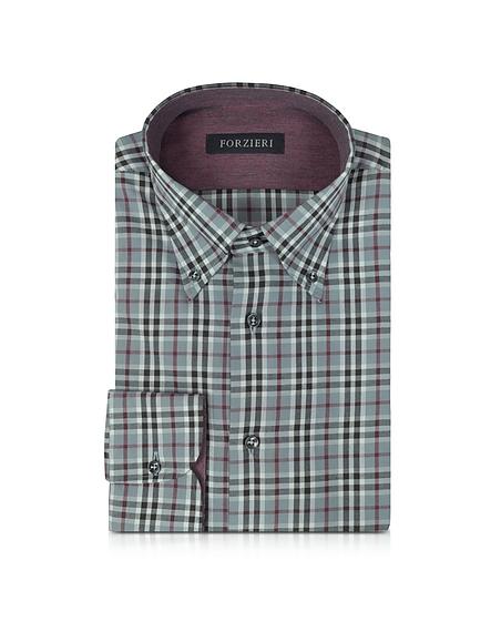Foto Forzieri Camicia da uomo in Cotone a Quadri Slim Fit Camicie