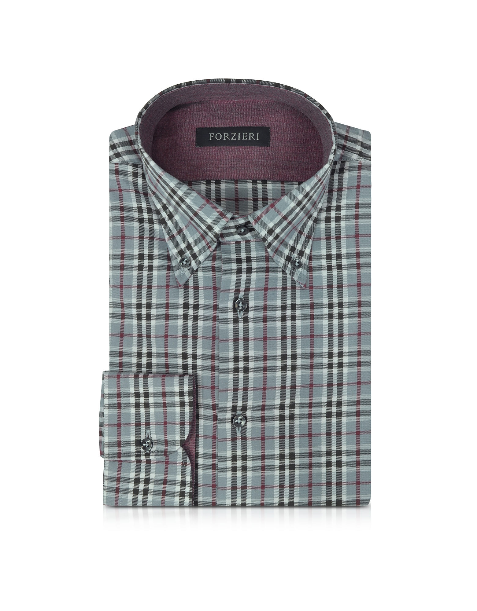 Gray & Burgundy Plaid Cotton Slim Fit Men's Shirt
