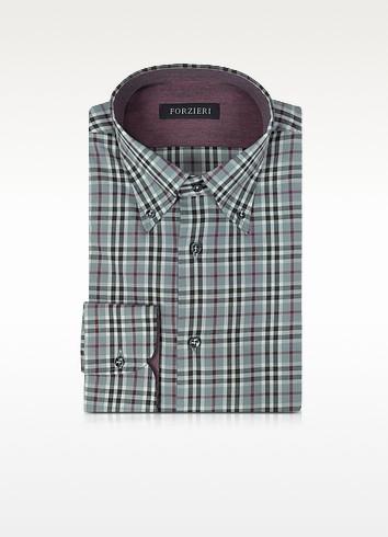 Gray & Burgundy Plaid Cotton Slim Fit Men's Shirt - Forzieri